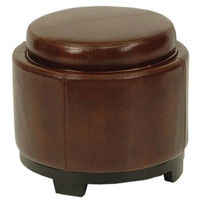 Round Leather Cocktail Ottoman Upholstery: Cordovan