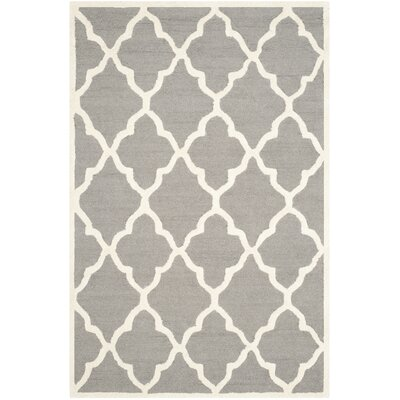 Charlenne Hand-Tufted Dark Grey/Ivory Area Rug Rug Size: Rectangle 5 x 8