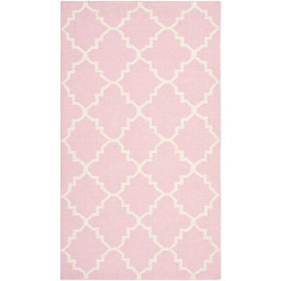 Dhurries Pink/Ivory Area Rug Rug Size: 26 x 4