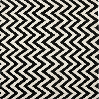 Dhurries Wool Black/Ivory Area Rug Rug Size: Rectangle 8 x 8