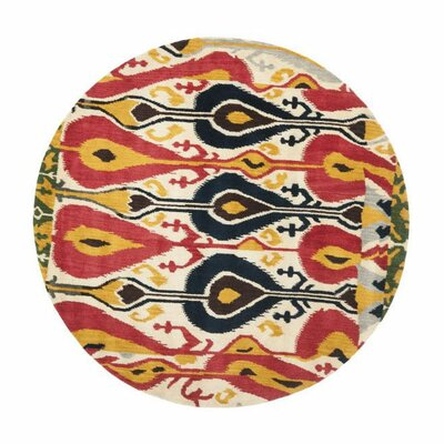 Ikat Area Rug Rug Size: Round 6'