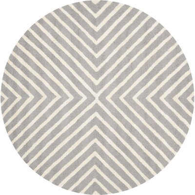 Ordingen Hand-Tufted Wool Silver/Ivory Area Rug Rug Size: Round 8