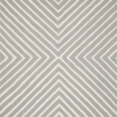 Ordingen Hand-Tufted Wool Silver/Ivory Area Rug Rug Size: Square 8