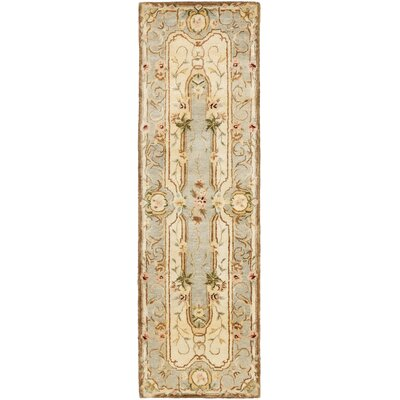 Ame Hand-Tufted Ivory/Light Blue Area Rug Rug Size: Runner 26 x 10