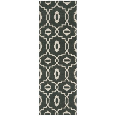 Dhurries Green/Ivory Area Rug Rug Size: Runner 26 x 8