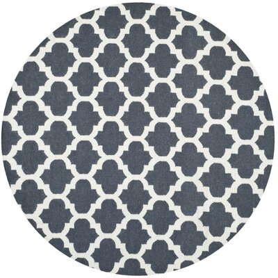 Dhurries Blue/Ivory Area Rug Rug Size: Round 7