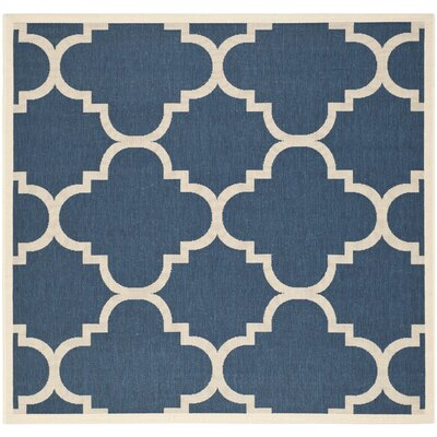 Short Navy/Beige Indoor/Outdoor Area Rug Rug Size: Square 53