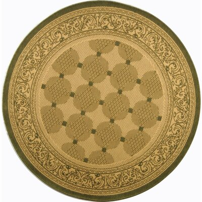 Courtyard Natural/Olive Outdoor Rug Rug Size: Round 5'3