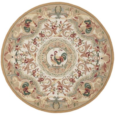 Kinchen Taupe Novelty Area Rug Rug Size: Round 3