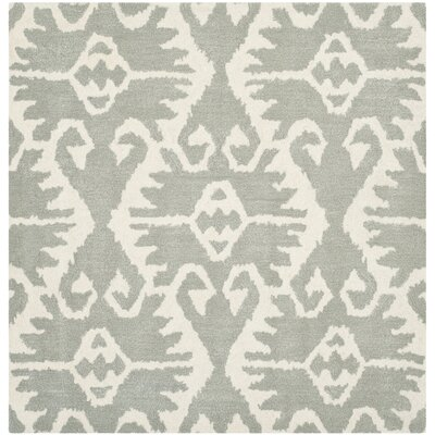 Kouerga Gray/Ivory Area Rug Rug Size: Square 7