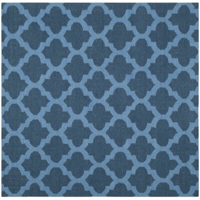 Dhurries Blue Area Rug Rug Size: Square 6'