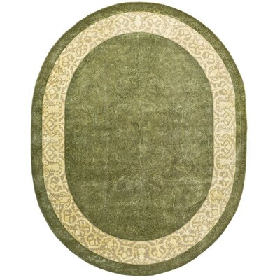 Silk Road Spruce/Ivory Area Rug Rug Size: Oval 76 x 96