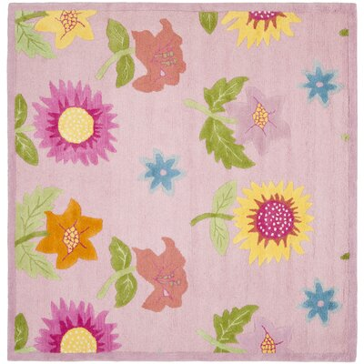 Claro Pink Floral Area Rug Rug Size: Square 7