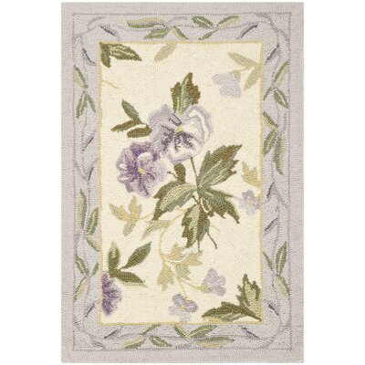 Isabella Ivory/Pruple Area Rug Rug Size: Rectangle 18 x 26