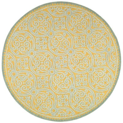 Cambridge Hand-Tufted Blue/Gold Area Rug Rug Size: Round 10