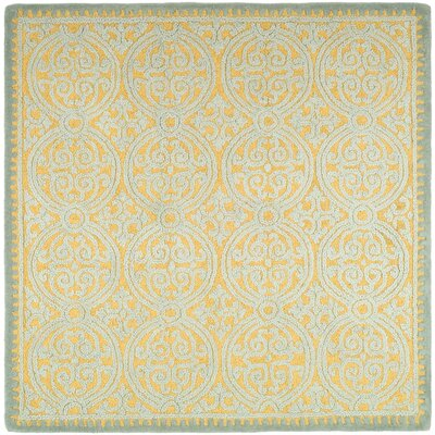 Charlenne Hand-Tufted Blue/Gold Area Rug Rug Size: Square 4