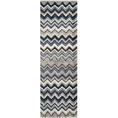 Tahoe Grey / Light Blue Geometric Rug Rug Size: Runner 26 x 8