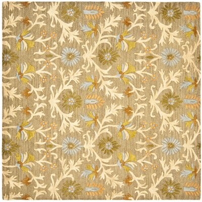 Parker Lane Hand-Tufted Wool Moss/Beige Area Rug Rug Size: Square 8