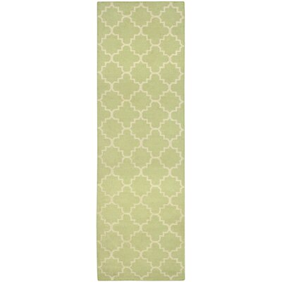 Hand-Woven Light Green/Ivory Area Rug Rug Size: Runner 26 x 8