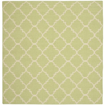 Hand-Woven Light Green/Ivory Area Rug Rug Size: Square 6
