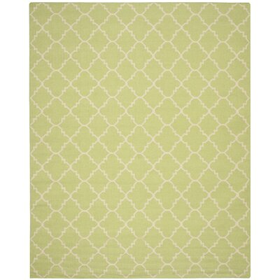 Hand-Woven Light Green/Ivory Area Rug Rug Size: Rectangle 10 x 14