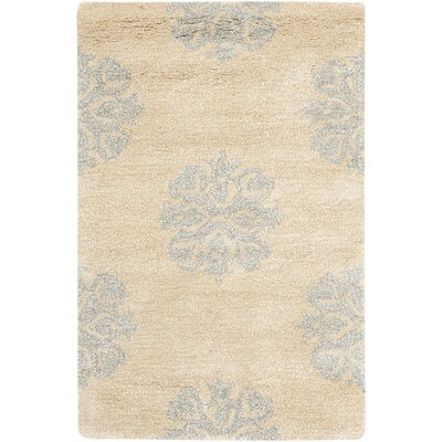 Halle Beige Floral Wool Hand-Tufted Area Rug