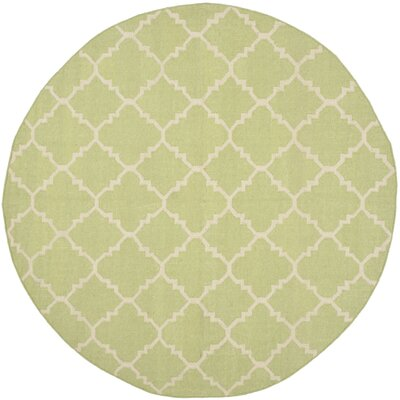 Dhurries Green/Ivory Checked Area Rug Rug Size: Round 6