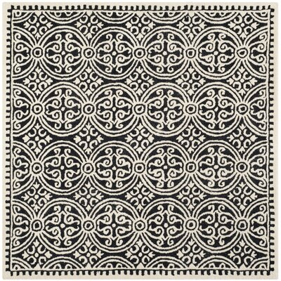 Fairburn Black/Ivory Area Rug Rug Size: Square 10