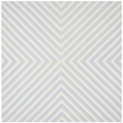Weybridge Hand Woven Wool Light Blue/Ivory Area Rug Rug Size: Square 6