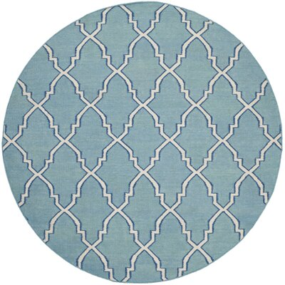 Dhurries Blue/Ivory Area Rug Rug Size: Round 6
