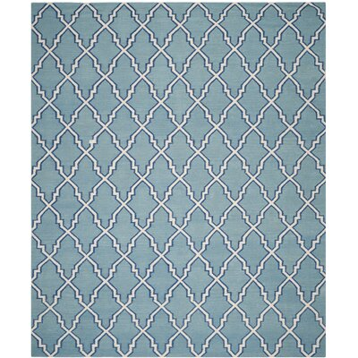 Dhurries Hand-Woven Wool Light Blue/Ivory Area Rug Rug Size: Rectangle 26 x 4