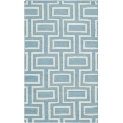 Dhurries Light Blue/Ivory Area Rug Rug Size: 5' x 8'