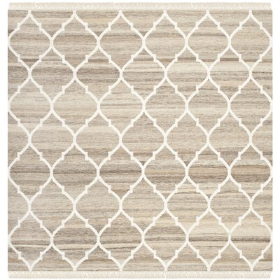 Natural Kilim Dhurrie Light Grey & Ivory Area Rug Rug Size: Square 5'