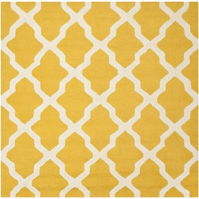 Charlenne Tufted/Hooked Wool Gold & Ivory Indoor Area Rug Rug Size: Square 8