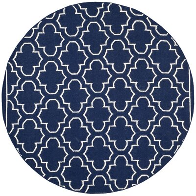 Dhurries Wool Navy/Ivory Area Rug Rug Size: Round 7