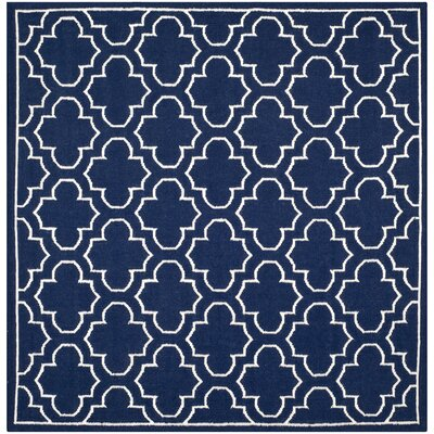 Dhurries Wool Navy/Ivory Area Rug Rug Size: Square 7
