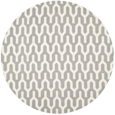 Dhurries Grey & Ivory Area Rug I Rug Size: Round 7