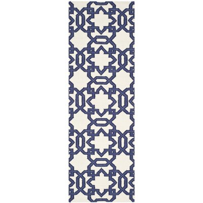 Dhurries Ivory/Purple Area Rug Rug Size: Runner 26 x 8