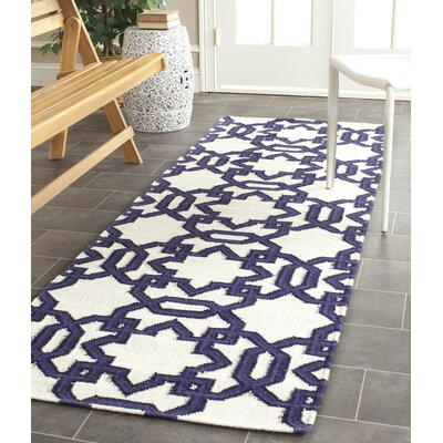 Dhurries Hand-Woven Wool Ivory/Purple Area Rug Rug Size: Runner 26 x 8