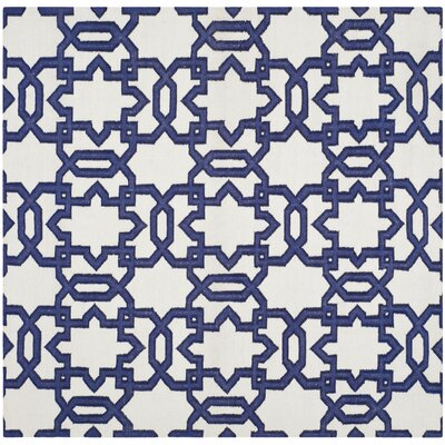 Dhurries Ivory/Purple Area Rug Rug Size: Square 6