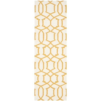 Dhurries Ivory/Yellow Area Rug Rug Size: Runner 2'6