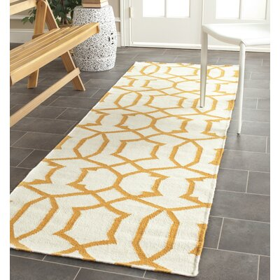 Dhurries Wool Ivory/Yellow Area Rug Rug Size: Runner 26 x 8