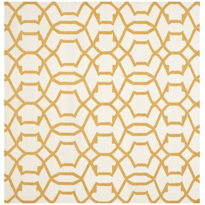 Dhurries Wool Ivory/Yellow Area Rug Rug Size: Square 6