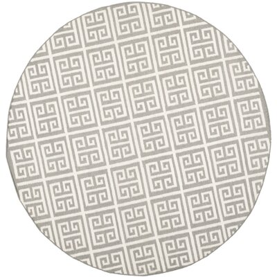 Dhurries Grey/Ivory Area Rug Rug Size: Round 7