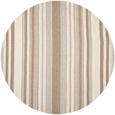 Dhurries Wool Natural/Camel Area Rug Rug Size: Round 7