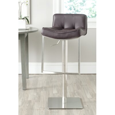 FOX Adjustable Height Swivel Bar Stool with Cushion Seat Finish: Brown