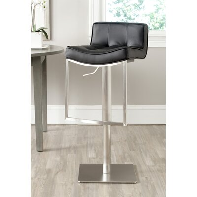 FOX Adjustable Height Swivel Bar Stool with Cushion Seat Finish: Black