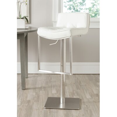 FOX Adjustable Height Swivel Bar Stool Seat Color: White