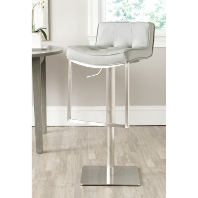 FOX Adjustable Height Swivel Bar Stool Seat Color: Gray