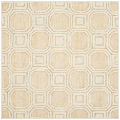 Precious Hand-Tufted Cotton Beige Area Rug Rug Size: Square 5'